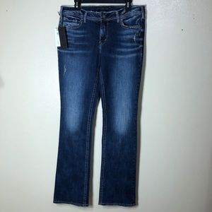 🔵 Silver Jeans Elyse Boot Cut Curvy Distressed